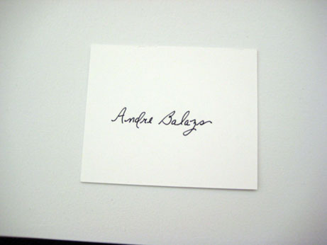 andre balazs daughter. ANDRE BALAZS, seating card,