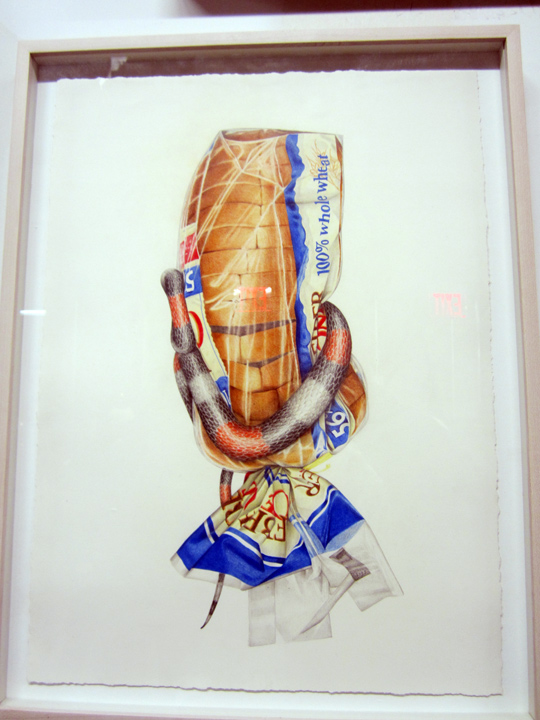 aa38cb012 BEST HYPER-REALIST PIECE, WATERCOLOR or colored PENCIL ? . . AUREL SCHMIDT  but, what . . snake goes for WHOLE WHEAT ? aren't they . . gluten-free ?!!