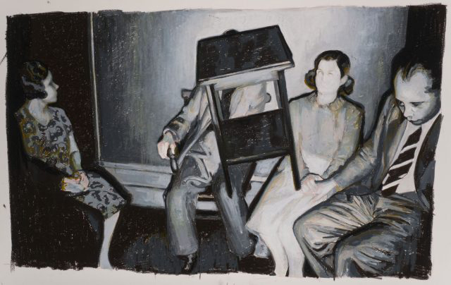 Mercedes-Helnwein,-Table,-painting---Fourth-Wall,-Booth-Gallery-NYC